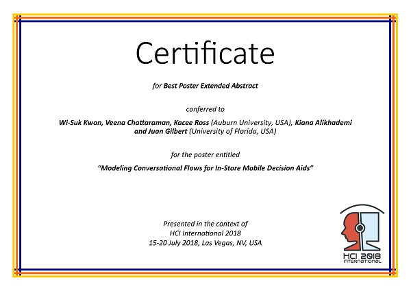 Certificate for Best Poster Extended Abstract. Details in text following the image