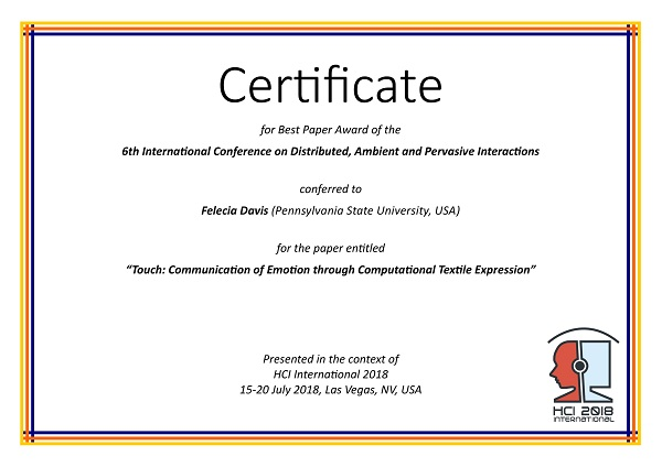 Certificate for best paper award of the 6th International Conference on Distributed, Ambient and Pervasive Interactions. Details in text following the image