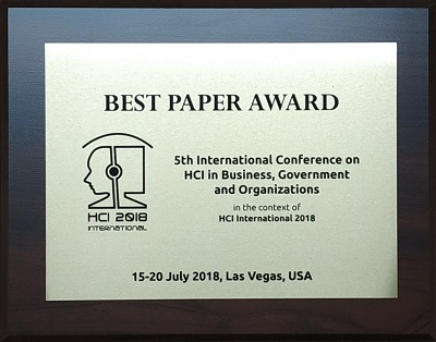 5th International Conference on HCI in Business, Government and Organizations Best Paper Award. Details in text following the image.
