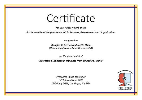 Certificate for best paper award of the 5th International Conference on HCI in Business, Government and Organizations. Details in text following the image