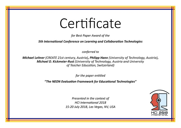 learning and collaboration technologies best paper award hci