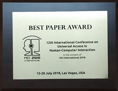 12th International Conference on Universal Access in Human-Computer Interaction Best Paper Award. Details in text following the image.