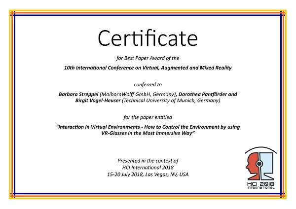 Certificate for best paper award of the 10th International Conference on Virtual, Augmented and Mixed Reality. Details in text following the image