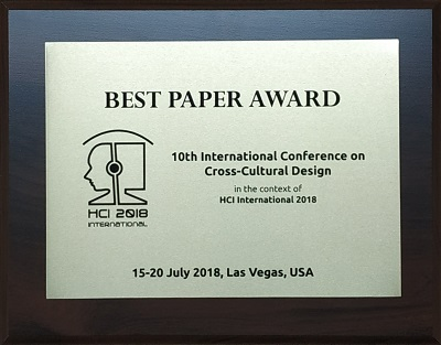 10th International Conference on Cross-Cultural Design Best Paper Award. Details in text following the image.