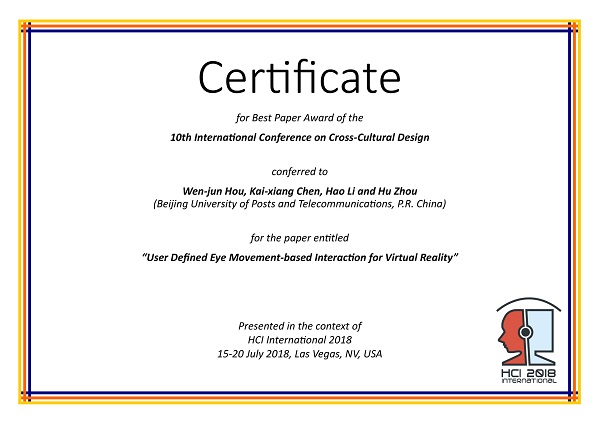 Certificate for best paper award of the 10th International Conference on Cross-Cultural Design. Details in text following the image