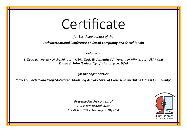 Certificate for best paper award of the 10th International Conference on Social Computing and Social Media. Details in text following the image