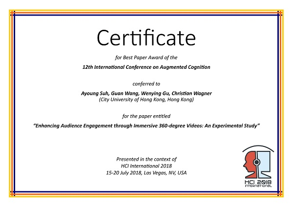 Certificate for best paper award of the 12th International Conference on Augmented Cognition. Details in text following the image