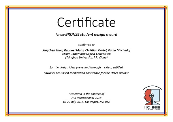 Certificate for the BRONZE student design award. Details in text following the image